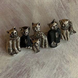 Kitty Cat Bar Pin, Silver and Black Enamel